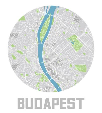 Minimalistic Budapest city map icon.  イラスト・ベクター素材