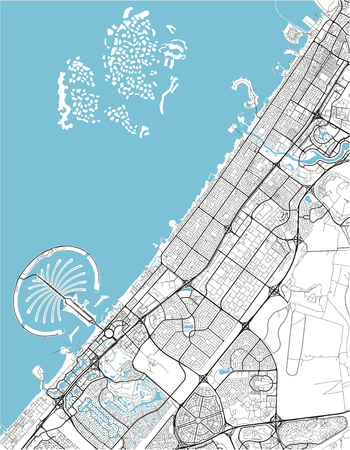 Black and white vector city map of Dubai with well organized separated layers. Ilustração