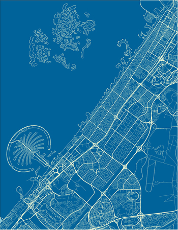 Blue and White vector city map of Dubai with well organized separated layers. Ilustração