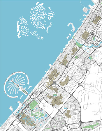 Colorful vector city map of Dubai with well organized separated layers. Ilustração