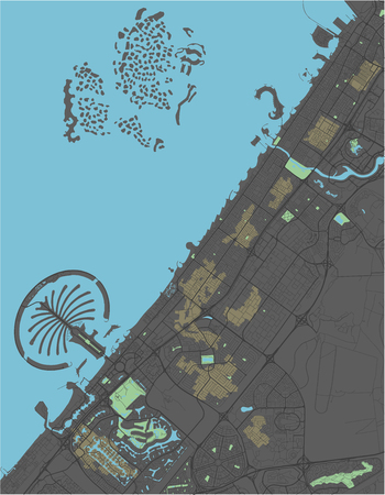 Dubai vector map with dark colors. Çizim