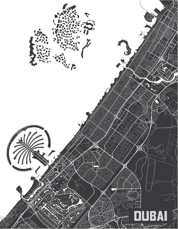 Minimalistic Dubai city map poster design. Illustration