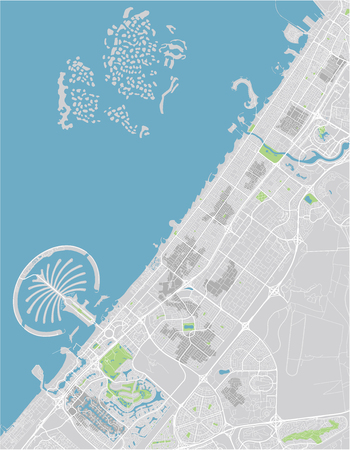 Vector city map of Dubai with well organized separated layers. Çizim