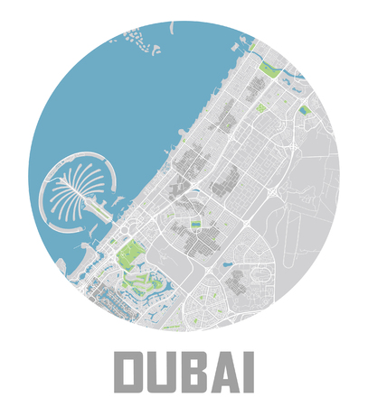 Minimalistic Dubai city map icon. Çizim