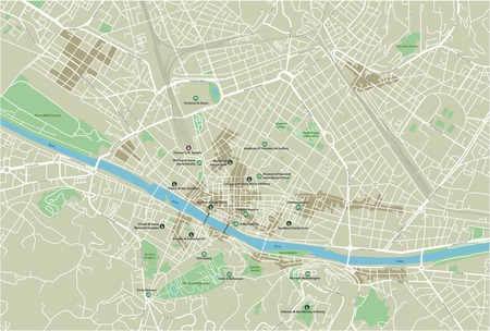 Vector city map of Florence with well organized separated layers. 矢量图像