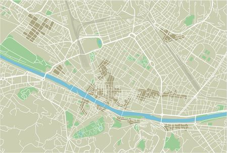Vector city map of Florence with well organized separated layers. Ilustração