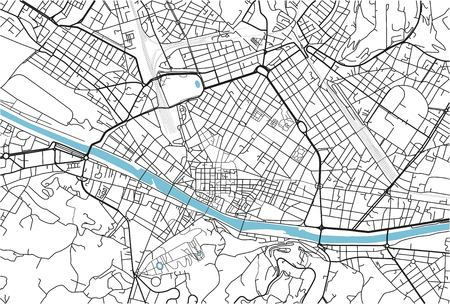 Black and white vector city map of Florence with well organized separated layers. 免版税图像 - 123400128