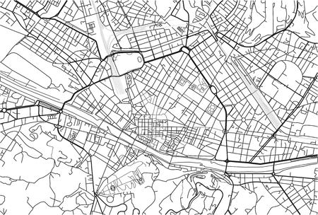 Black and white vector city map of Florence with well organized separated layers. Stock fotó - 123400129