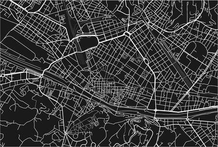 Mappa vettoriale in bianco e nero della città di Firenze con strati separati ben organizzati.