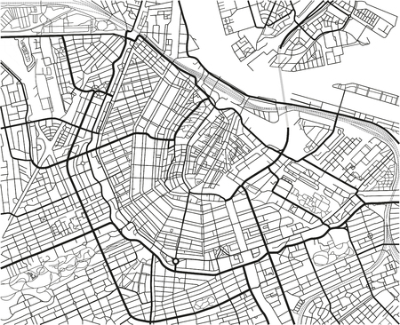 Black and white vector city map of Amsterdam with well organized separated layers. Reklamní fotografie - 122638353