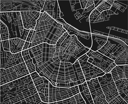 Black and white vector city map of Amsterdam with well organized separated layers. 写真素材 - 122638354