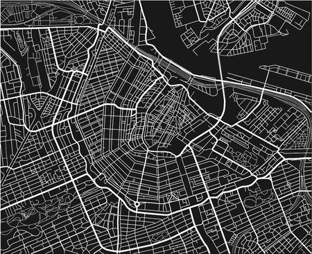 Schwarz-Weiß-Vektor-Stadtplan von Amsterdam mit gut organisierten getrennten Schichten.