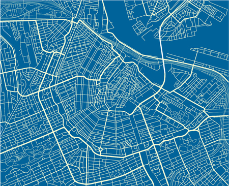 Blue and White vector city map of Amsterdam with well organized separated layers.