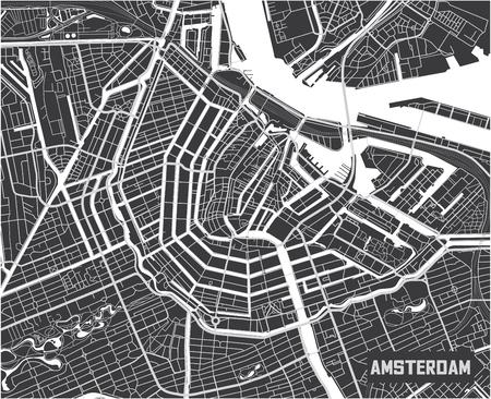 Minimalistisch Amsterdams stadsplattegrond posterontwerp.