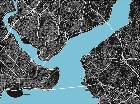 Black and white vector city map of Istanbul with well organized separated layers.