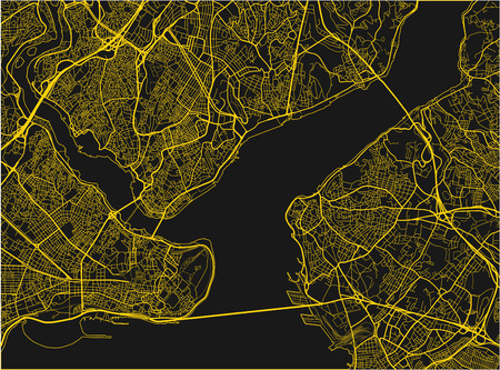 Black and yellow vector city map of Istanbul with well organized separated layers. 写真素材 - 122638377