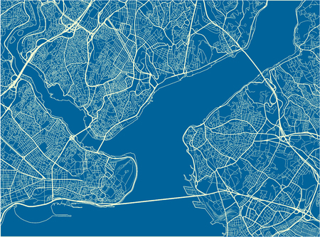 Blue and White vector city map of Istanbul with well organized separated layers.