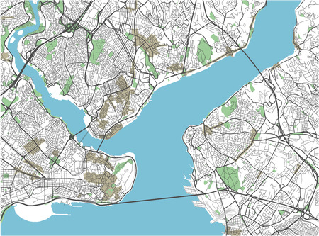 Colorful Istanbul vector city map