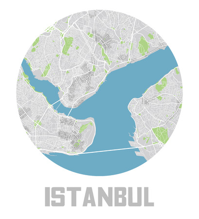 Minimalistic Istanbul city map icon.