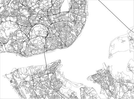 Black and white vector city map of Lisbon with well organized separated layers.