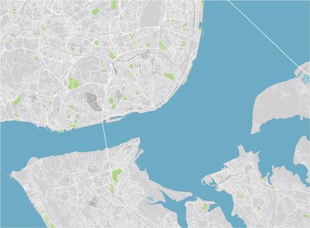Vector city map of Lisbon with well organized separated layers. 免版税图像 - 122638396