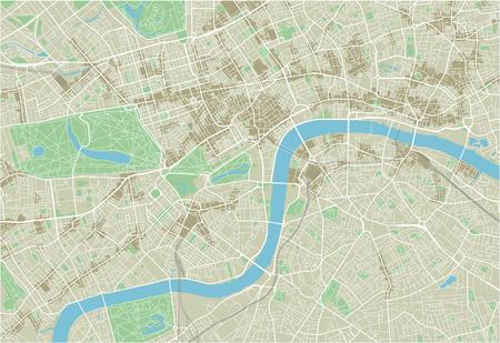 Wektorowa mapa miasta Londynu z dobrze zorganizowanymi oddzielnymi warstwami.