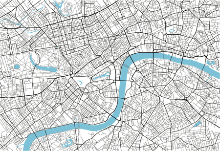 Black and white vector city map of London with well organized separated layers. Çizim