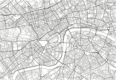 Black and white vector city map of London with well organized separated layers. Illustration
