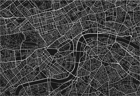 Black and white vector city map of London with well organized separated layers. 向量圖像