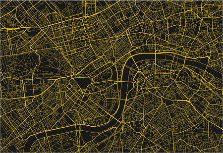 Black and yellow vector city map of London with well organized separated layers.