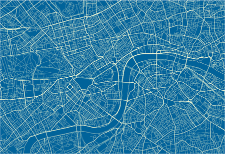Blue and White vector city map of London with well organized separated layers.