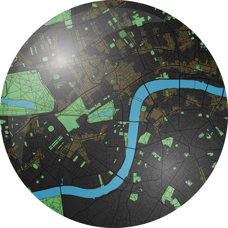 London vector map with dark colors. Çizim