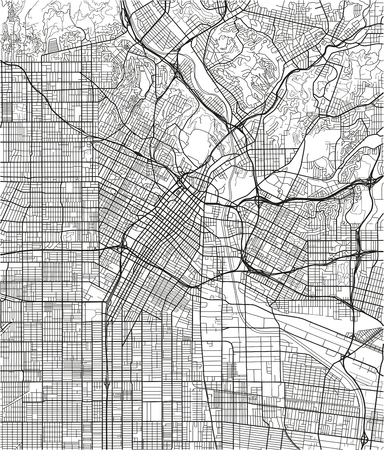 Black and white vector city map of Los Angeles with well organized separated layers. Ilustração