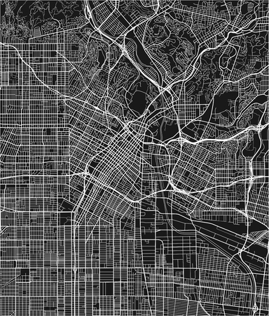 Black and white vector city map of Los Angeles with well organized separated layers. 向量圖像