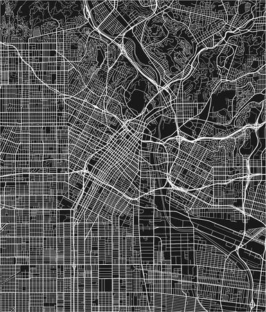 Plan de la ville vectorielle en noir et blanc de Los Angeles avec des couches séparées bien organisées.