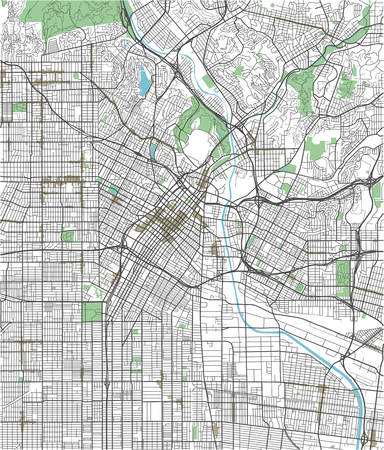 Colorful Los Angeles vector city map Illustration