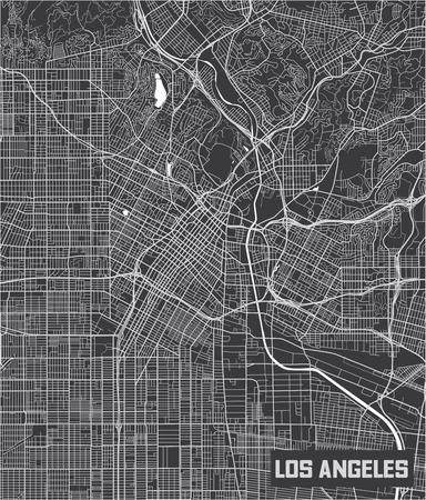 Minimalistic Los Angeles city map poster design.