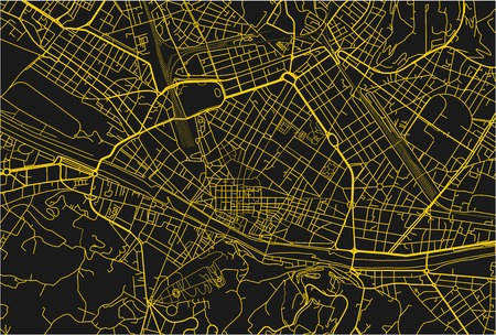 Black and yellow vector city map of Florence with well organized separated layers. 矢量图像