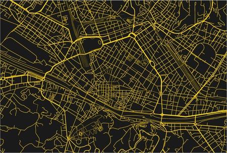 Mappa vettoriale nera e gialla della città di Firenze con strati separati ben organizzati.