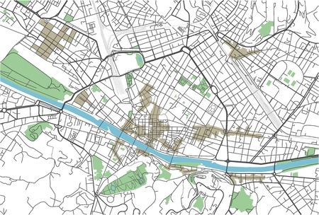 Colorata mappa vettoriale della città di Firenze