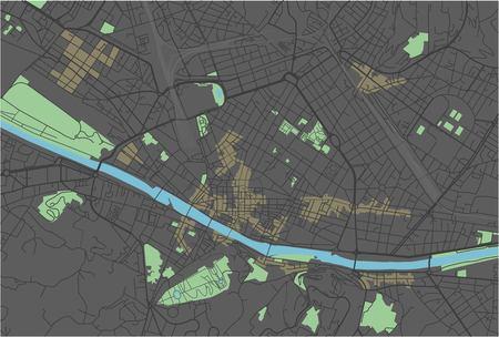 Mappa vettoriale di Firenze con colori scuri.