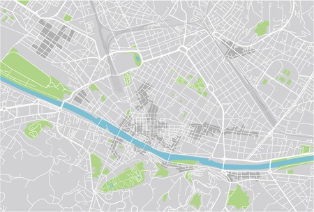 Vector city map of Florence with well organized separated layers. Vettoriali