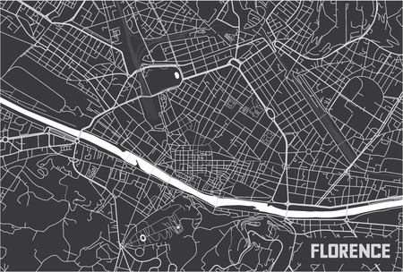 Minimalistic Florence city map poster design.