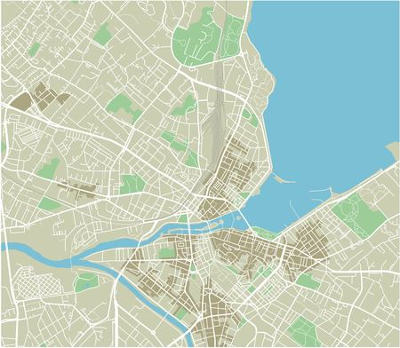 Mapa vectorial de la ciudad de Ginebra con capas separadas bien organizadas.