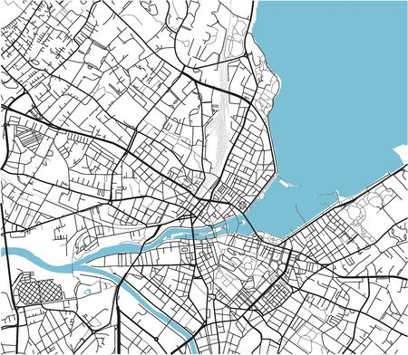 Black and white vector city map of Geneva with well organized separated layers. Illustration