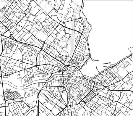 Mapa de la ciudad de vector blanco y negro de Ginebra con capas separadas bien organizadas.