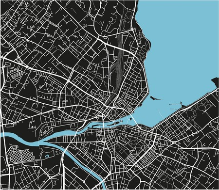 Black and white vector city map of Geneva with well organized separated layers. Banque d'images - 122638457