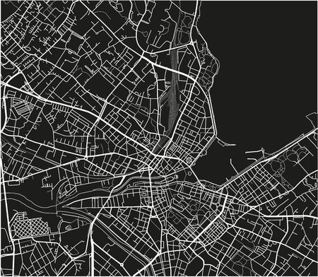 Schwarz-Weiß-Vektor-Stadtplan von Genf mit gut organisierten getrennten Schichten. Vektorgrafik