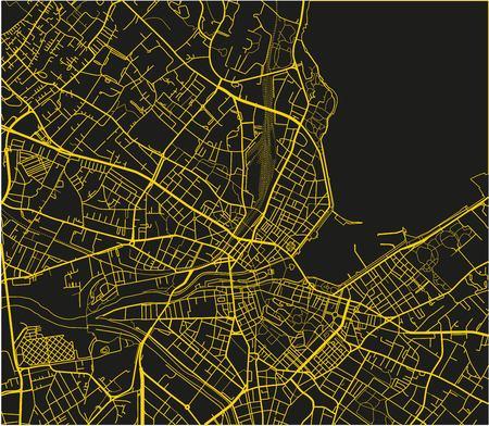 Schwarz-gelber Vektorstadtplan von Genf mit gut organisierter getrennter Schicht.