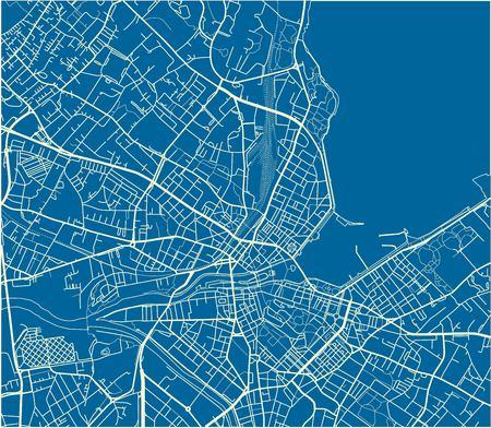 Mapa de la ciudad de vector azul y blanco de Ginebra con capas separadas bien organizadas.